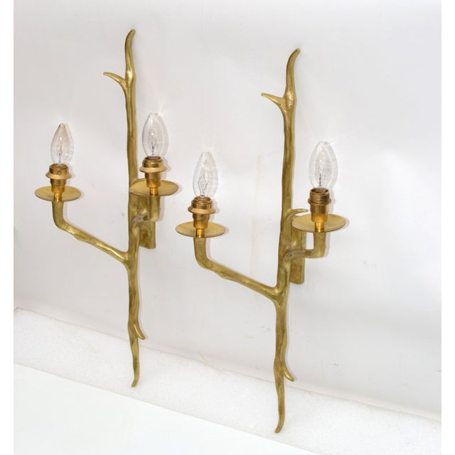 Mid-Century Modern Pair of Agostini Style Sconces Bronze With Black & Gold Shades, France 1950s For Sale - Image 3 of 13