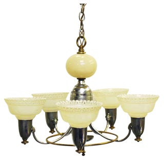 Five Arm Deco Chandelier With Decorative Cream Shades For Sale