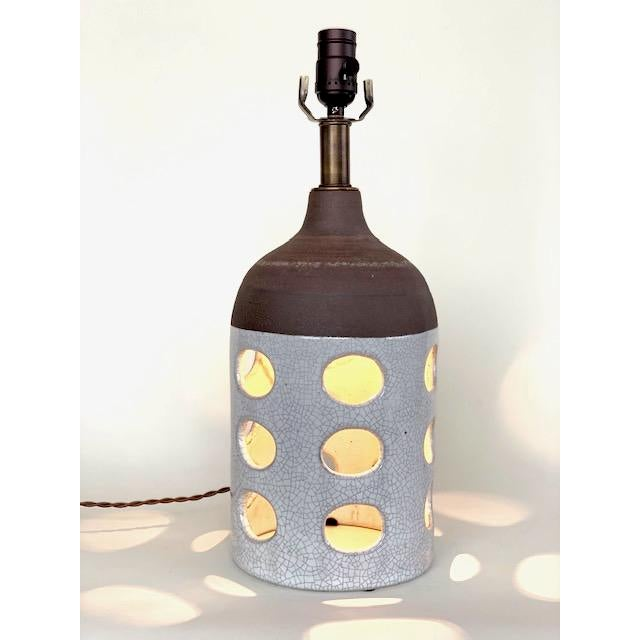 One-of-a-kind ceramic table lamp handmade by Heather Levine. Professionally wired with brown cloth cord. High fire...