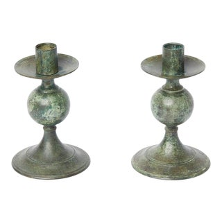 Vintage Verdigris Candle Holders - a Pair For Sale
