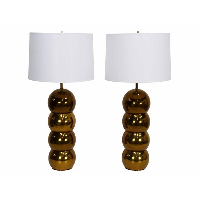 George Kovacs Brass Stacked Ball Lamps - A Pair For Sale