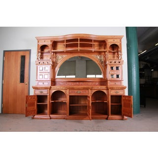 19th Century Victorian Hand-Carved Cherry Wood Bar Back or Sideboard, Newly Restored Preview