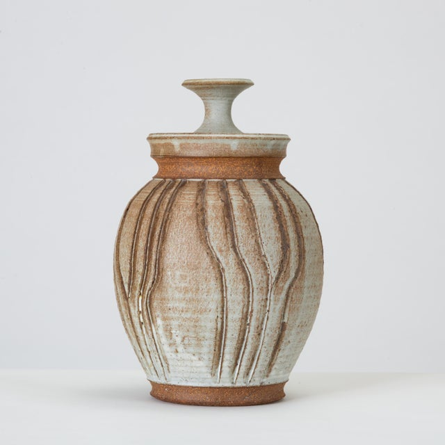 California Modern Incised Studio Pottery Vessel With Lid by Don Jennings For Sale - Image 13 of 13