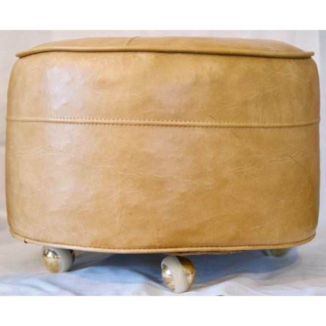 Mid-Century Modern 1970s Leather Moroccan-Style Pouf Ottoman For Sale - Image 3 of 13