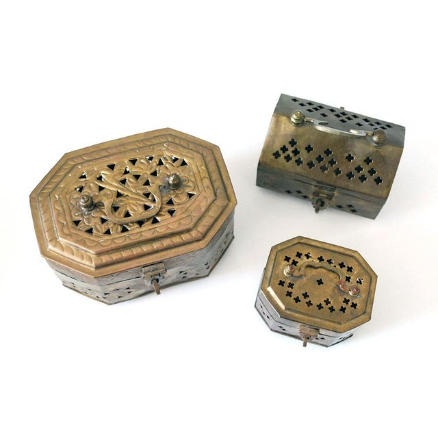 A nice set of three vintage brass cricket boxes from India, dating to about the 1950s to 1970s. These are great as a set...