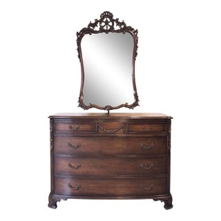 1940s Antique Carved Walnut Chest of Drawers and Mirror For Sale