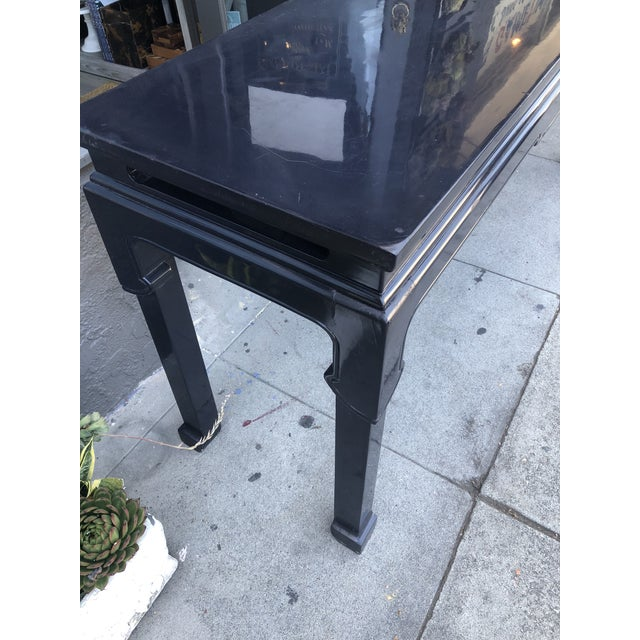Mid 20th Century Vintage Chinoiserie Black Lacquer Console Table For Sale - Image 5 of 9