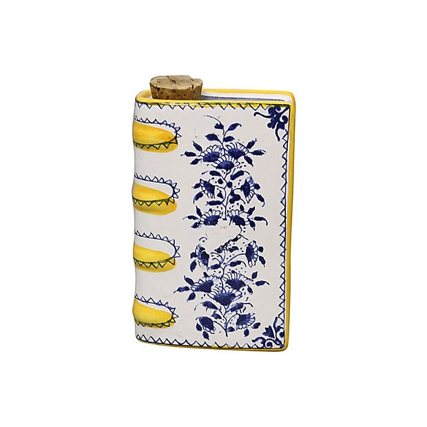 Cottage Vintage Italian Faience Book Flask For Sale - Image 3 of 5