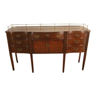 1980s Vintage Thomasville Cherry Sideboard With Brass Gallery For Sale