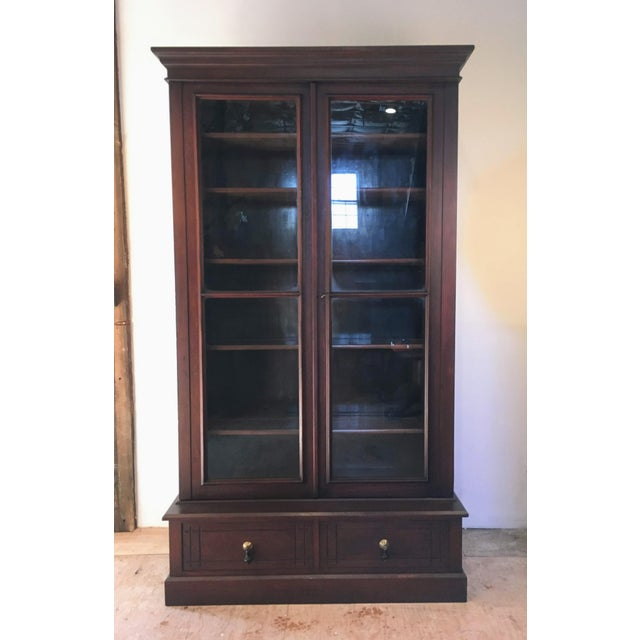 Wood 19th Century Victorian Two Door Bookcase Display Cabinet For Sale - Image 7 of 7