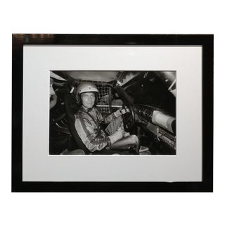 Paul Newman Inside a Race Car Vintage Silver Gelatin Photograph For Sale
