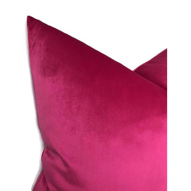 Contemporary Fuchsia Velvet Pillow Cover For Sale - Image 3 of 4