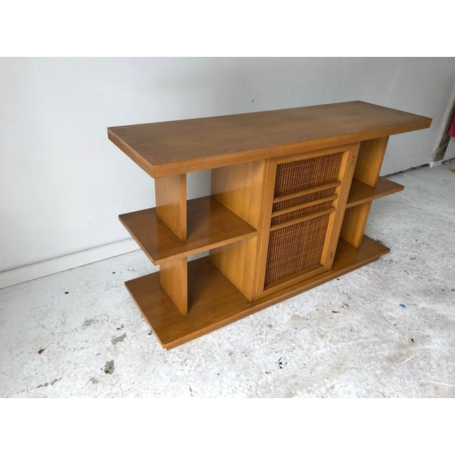 Midcentury Modern Sofa Table Book Case Maple Apartment Size For Sale - Image 4 of 7