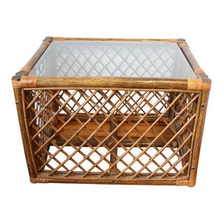 1970s Boho Chic Bamboo Glass Top Table For Sale