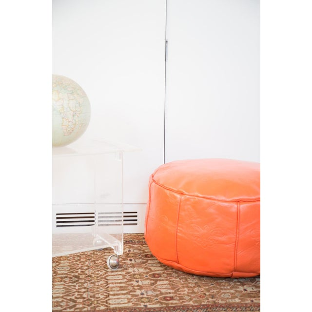 Antique Leather Moroccan Pouf - Orange - Image 5 of 8