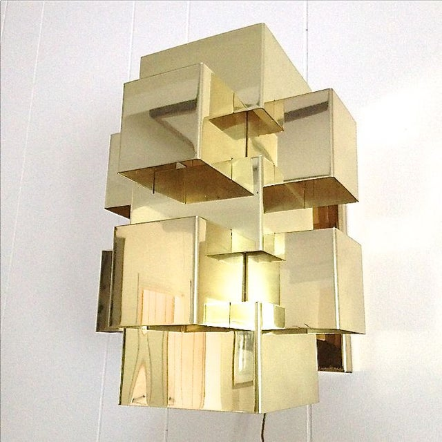 C. Jere Geometric Brass Cubist Wall Sconce - Image 2 of 3