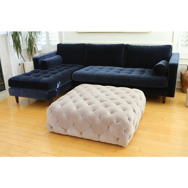 Hollywood Regency Velvet tufted Ottoman Coffee Table For Sale - Image 3 of 6
