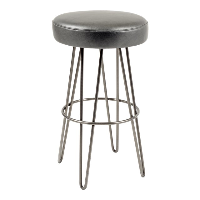 Charcoal Leather Hairpin Swivel Barstool For Sale