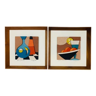 Mid-Century Modern Still Life Mosaic Artwork Signed Allen Noonan - a Pair For Sale