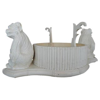 Faux Bamboo White Four Compartment Monkey Planter