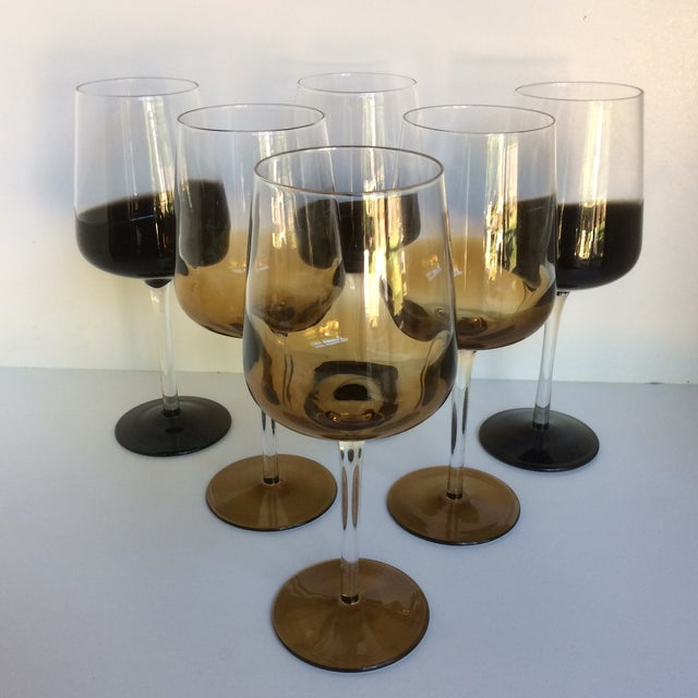 Mid-Century Modern Style Reverse Ombré Black & Amber Brown Wine Glasses - Set of 6 For Sale - Image 13 of 13