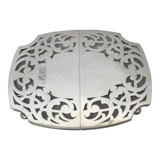 """Mid 20th Century Expandable Silver Trivet, """"Mjmc"""" Monogram For Sale"""