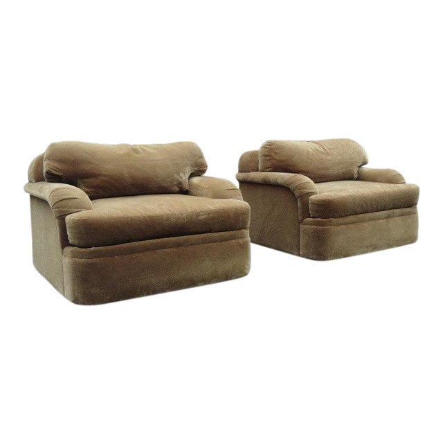 Thayer Coggin - Milo Baughman Style Oversized Mohair Club Chairs - A Pair - Image 1 of 11