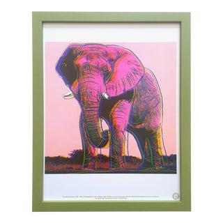"""Andy Warhol Estate Vintage 1989 Endangered Species Framed Lithograph Print """" African Elephant """" 1983 For Sale"""