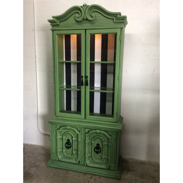 Black 20th Century Chinoiserie Emerald Green Hutch For Sale - Image 8 of 13
