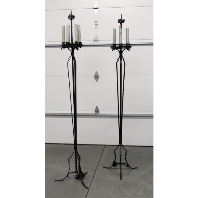 Pair of Antique Wrought Iron Floor Lamps For Sale - Image 11 of 11
