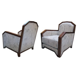 A Stylish Pair of French Art Deco Club Chairs W Mahogany Frames For Sale
