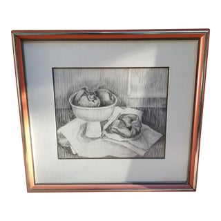 Black and White Still Life Engraving Drawing by Helene Howe - Signed For Sale