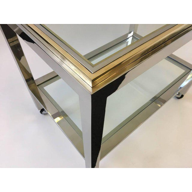 1970s Chrome and Brass Bar Cart by Renato Zevi For Sale - Image 5 of 10