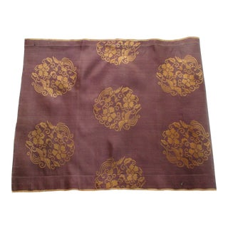 Vintage Obi Brown and Gold Silk Textile For Sale