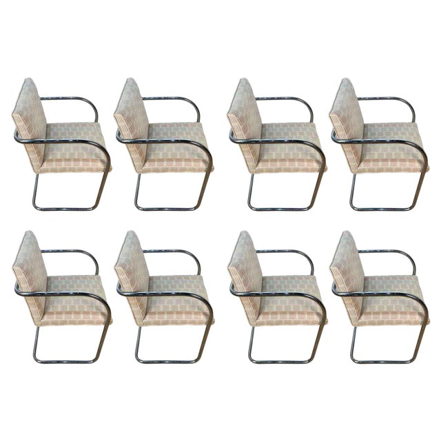Eight Mid-Century Brono Tubular Chairs, Designed by Ludwig Mies van der Rohe For Sale