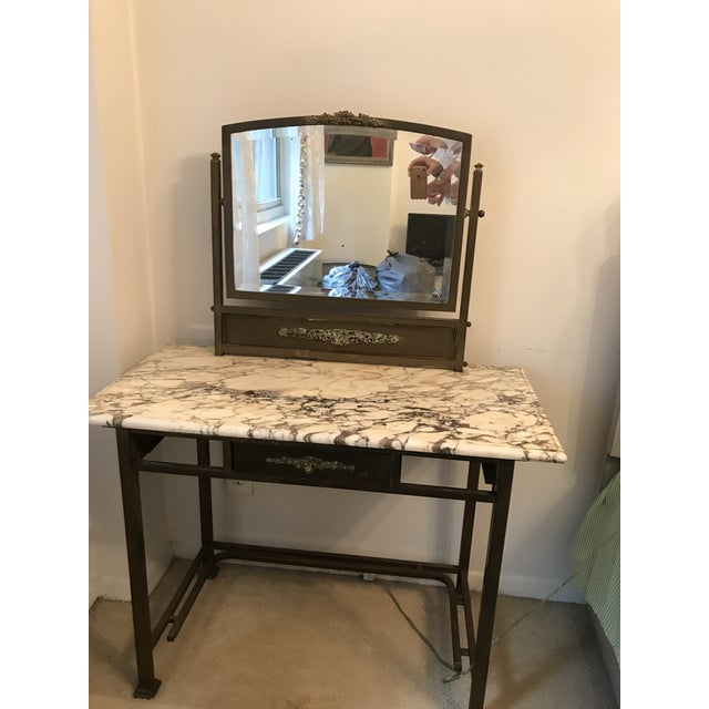 finest selection f6502 ec08a Antique French Brass & Marble Dressing Table