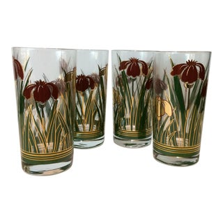 "Mid-Century Modern Culver ""Iris Cinnabar"" Glasses - Set of 4 For Sale"