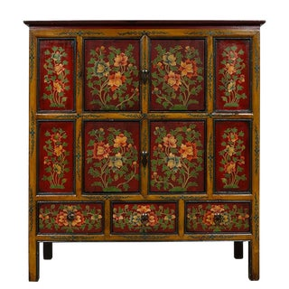 20th Century Asian Tibetan Painted Cabinet For Sale