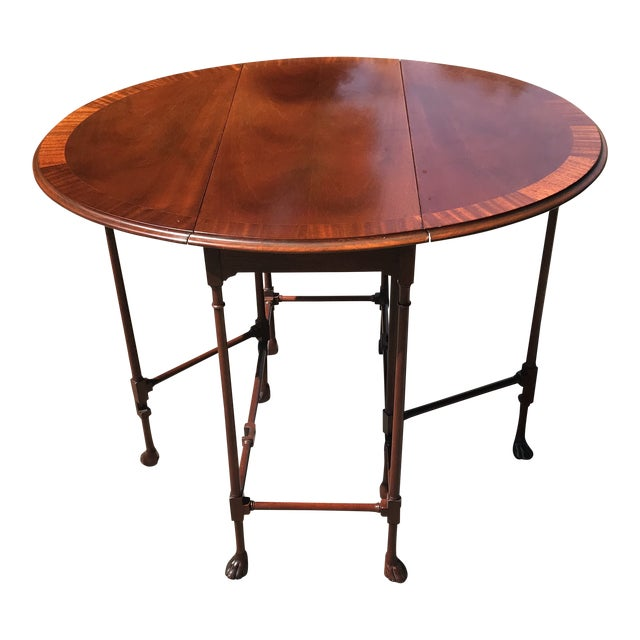 Traditional Claw Foot Walnut Side Table by Baker Furniture For Sale