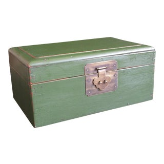Antique Chinese Rustic Green Treasure Box For Sale