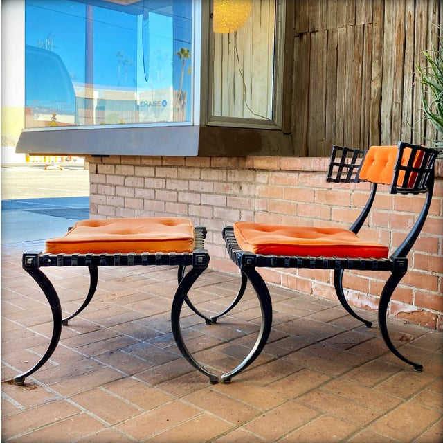 1960s Vintage Klismos-Style Thinline Lounge Chair and Ottoman with Original Finish & Orange Upholstery For Sale - Image 13 of 13