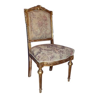 Late 19th Century Carved Gilt Wood & Petit Point Chair For Sale