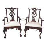 Image of 1990s Vintage Henredon Rittenhouse Square Mahogany Arm Chairs- A Pair For Sale