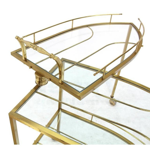 Early 20th Century Unusual Iron Shape Folding Brass Tea Cart For Sale - Image 5 of 10