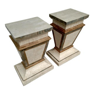 1980's Tessellated Stone Neoclassical Pedestals, a Pair For Sale