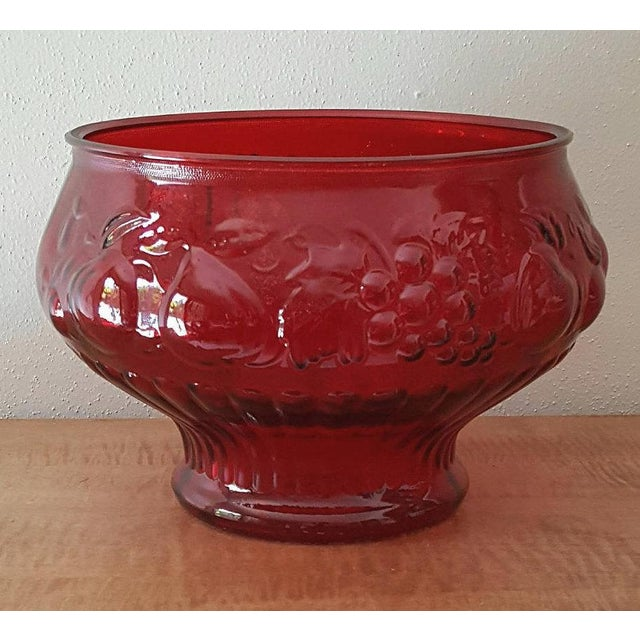 Vintage Crystal Red Glass Punch Bowl12 Milk Glass Cups In Fruit