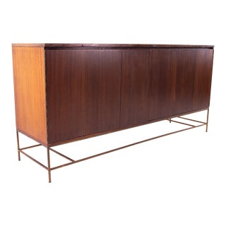 Paul McCobb for Calvin Mid Century 16 Drawer Mahogany and Brass Sideboard Buffet Credenza For Sale