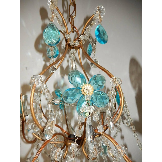1920 French Bagues Style Aqua Flowers Crystal Chandelier For Sale - Image 4 of 10