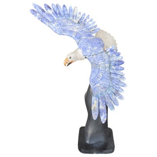 Rock Crystal and Lapis Eagle For Sale
