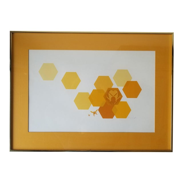 """1960s """"Bees and Hexagons"""" Minimalist Serigraph, Framed For Sale"""
